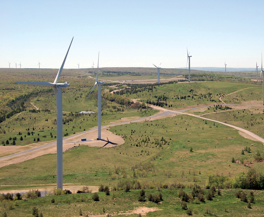 Cambria County's Highland Wind Farm was developed on an old strip mine. (Photo courtesy of EverPower Wind Holdings)