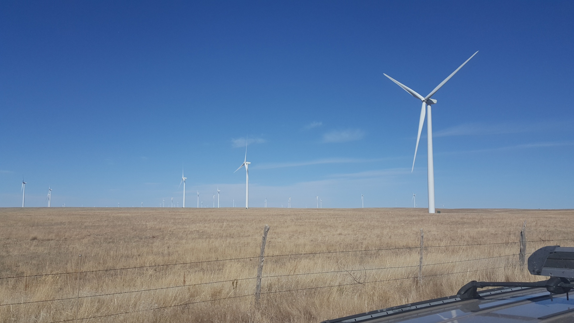 HOME ON THE RANGE: This wind farm northeast of Colorado Springs generates lease income for about 100 landowners and creates permanent local jobs. (Photo courtesy of Richard Wilson)